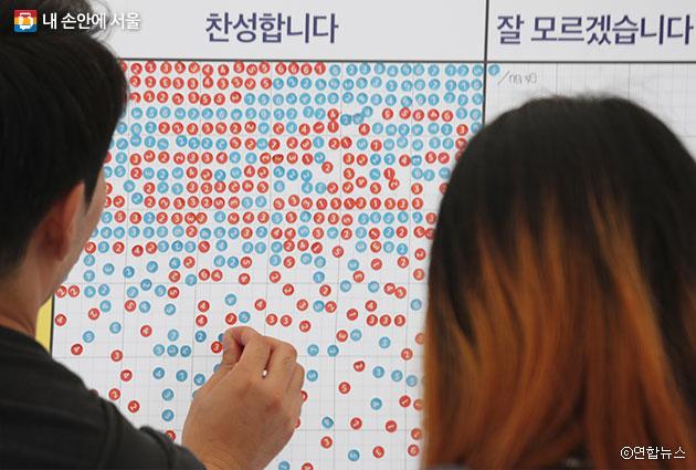 7일 오후 서울 광장에서 열린 `2017 정책박람회와 함께하는 시민 공유아이디어 제안 한마당`에서 시민들이 찬반 표시를 하고 있다. ⓒ연합뉴스