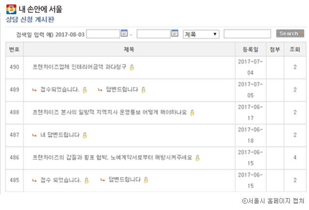 서울시 `눈물그만` 프랜차이즈 상담 게시판에 올라온 피해 상담 ⓒ서울시 홈페이지 캡처