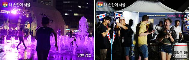 서울광장 바닥분수에서 신난 아이들(좌), 아이스크림 나눔 행사에 즐거운 시민들(우) ⓒ변경희