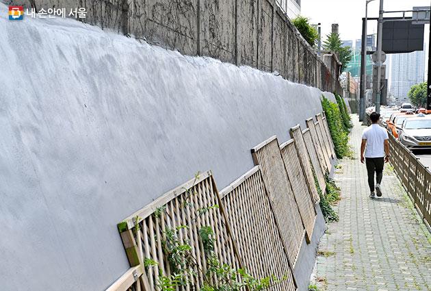 청파로 서울역 뒷편 옹벽