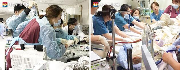 출동한 SMICU 의료진은 중증환자 정보를 인계받은 후 이송을 진행한다