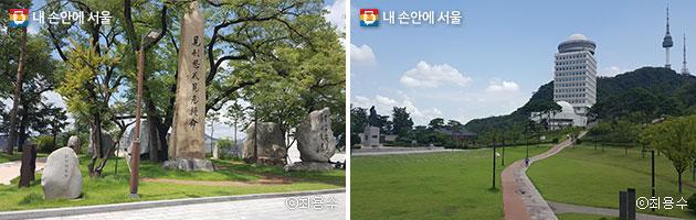 기념관 앞뜰에 있는 `안의사광장` (좌) 백범광장과 김구 동상, 서울 타워 등 산책하기 좋은 장소다(우) ⓒ최용수
