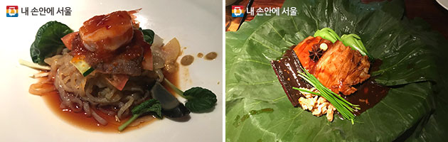 냉채를 수직으로 쌓아낸 복춘 렁챠이(좌), 연잎으로 쩌낸 동파육(우)