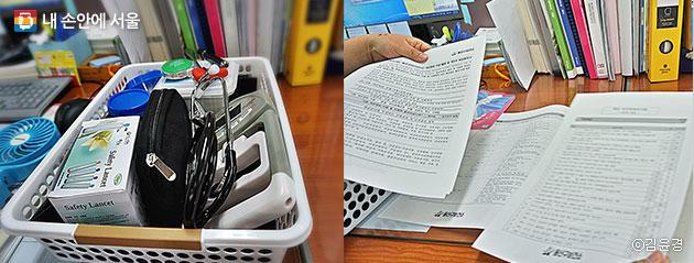 방문간호사가 방문할 때 들고 다니는 청진기를 포함한 도구들(좌), 여러 장의 설문지로 꼼꼼하게 확인한다. (우)