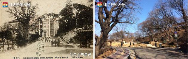 남산총독관저 ⓒ부산박물관(좌), 현재 기억의 터(우)