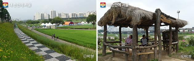 다양한 체육시설과 쉼터가 마련된 안양천 주변 풍경(좌), 원두막 쉼터(우). ⓒ박분