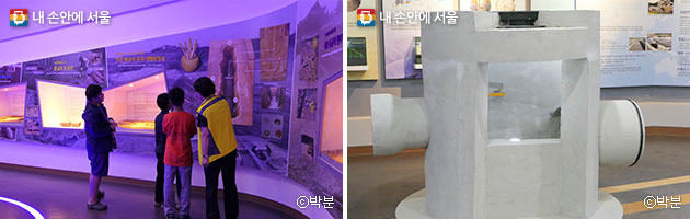 청소년들이 삼국시대의 화장실을 살펴보고 있다(좌), 맨홀 내부 구조(우) ⓒ박분