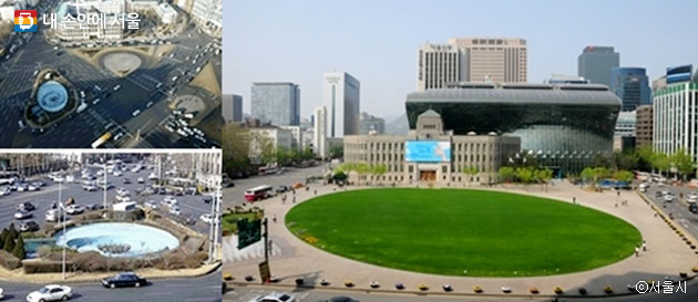 서울광장 조성 전(좌)과 조성 후 모습 ⓒ서울시