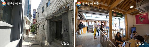 골목을 돌아다니며 다양한 건축과 작품을 동시에 감상할 수 있다(좌), 서울도시건축비엔날레 카페에는 다양한 관람객들이 방문하고 있다(우) ⓒ문청야