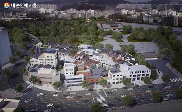 2017서울도시건축비엔날레 주요 전시장 중에 한 곳인 돈의문박물관마을 전경. 녹음과 마을이 어우러져 있다