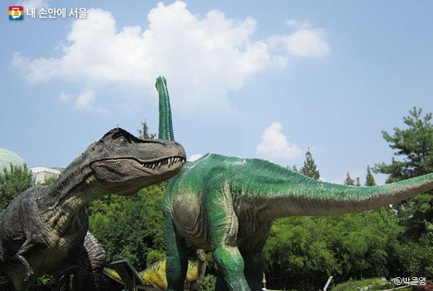 노원구는 청소년들이 과학을 쉽게 공부할 수 있도록 공룡조형물 및 공룡보행열(발자국)을 설치하였다. ⓒ박은영