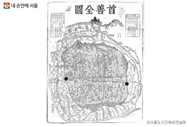 서울시가지도 수선전도(首善全圖), 1846–49년. 표시된 곳은 돈의문(왼쪽)과 현재 동대문 디자인 플라자가 위치한 흥인지문(오른쪽) 지역 ⓒ서울도시건축비엔날레