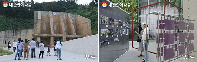 해설사와 함께 탱크를 둘러보는 시민들(좌). 탱크1에서 열린 `한강 건축 상상전`(우) ⓒ박분