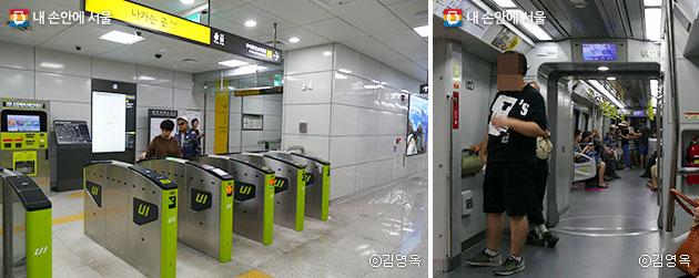 북한산우이역 개찰구(좌), 객실차량 사이 문과 턱이 없다.(우) ⓒ김영옥