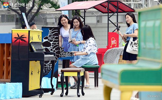 광화문광장에서 진행됐던 `달려라 피아노 축제`ⓒnews1