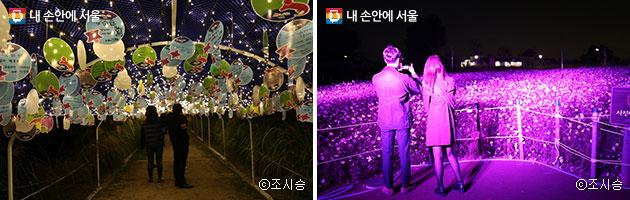 소원터널의 모습(좌)과 포토존의 모습(우) ⓒ조시승