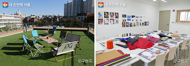 3층의 도란마당(좌), 웨어러블 미술 프로그램이 열리고 있는 모두의학교 3층 교실(우)ⓒ구현주