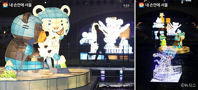 청계광장~광교 구간에서는 평창동계올림픽 공식캐릭터와 동계올림픽 정식종목을 등으로 만날 수 있다.ⓒnews1ⓒ뉴시스