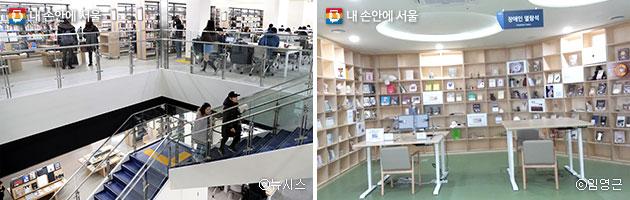 마포중앙도서관 자료열람실(좌)ⓒ뉴시스, 장애인 열람석(우) ⓒ임영근