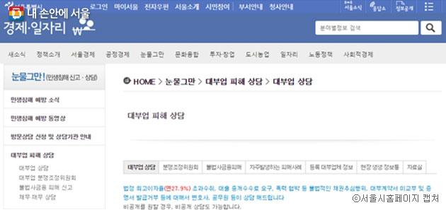 서울시에서 운영하는 '눈물그만' 사이트에서는 대부업체 등록 여부와 함께 대부업 피해 상담과 신고를 할 수 있다 ⓒ서울시홈페이지 캡처