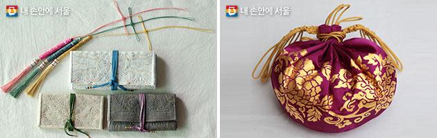 색실공예(좌), 금박공예(우)