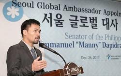 서울 글로벌 대사로 위촉된 매니 파키아오 필리핀 상원의원©뉴스1