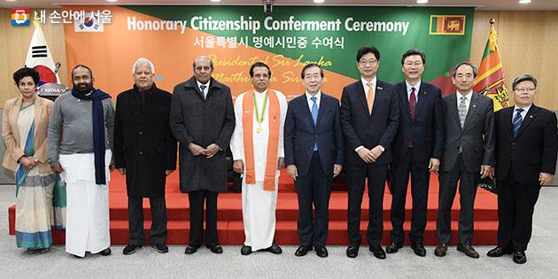 한국-스리랑카 수교 40주년을 맞아 한국을 방문한 시리세나 대통령과 박원순 시장