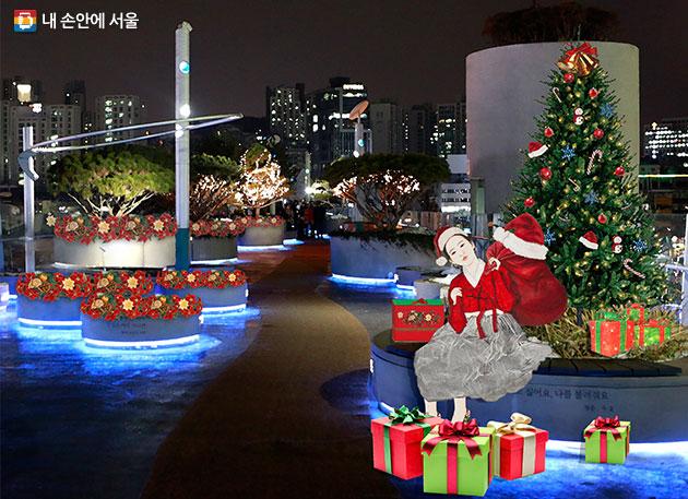 `내숭 : 산타말이야` 한지 위에 수묵과 담채, 콜라쥬, 2017(☞ 이미지 클릭 크게보기)