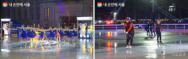 아름다운 퍼포먼스를 선사한 팀블레싱(좌), 쇼트트랙 경기를 선보인 서울시청 경기 스케이트팀 (우) ⓒ김윤경