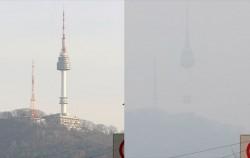 미세먼지 농도 `보통`을 보이고 있는 19일 남산N타워(좌)와 `나쁨`을 보였던 17일 남산(우)ⓒnews1