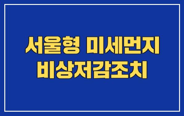 서울형 미세먼지 비상저감조치 발령