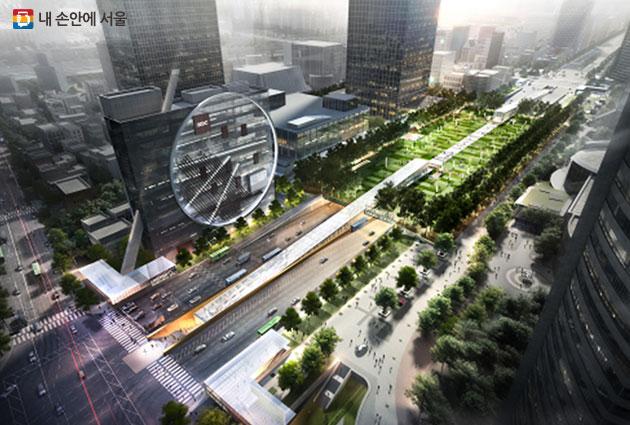 영동대로 광역복합환승센터 국제현상설계공모 당선작 조감도