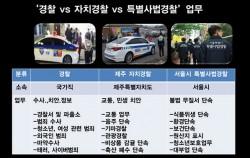 경찰과 자치경찰, 특별사법경찰의 업무 비교. 자치경찰은 제주자치도에서 유일하게 운영되고 있다