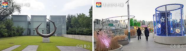 한양도성 성곽길 가까이에 안중근의사 기념관(좌)과 서울로7017(우)도 둘러볼 수 있다 ⓒ최용수