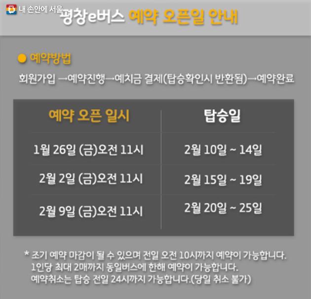 평창e버스 예약 일정 안내문