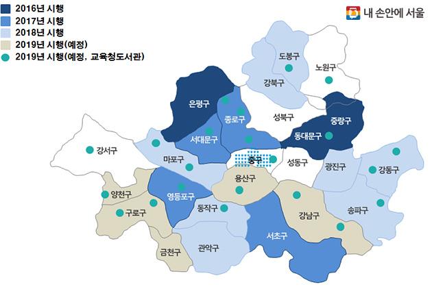 서울시 책이음서비스 운영 지역 현황