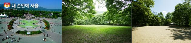 분수대 대형 광장(좌), 대공원 숲속저수지 소형 광장(가운데), 다람쥐 소형 광장(우)