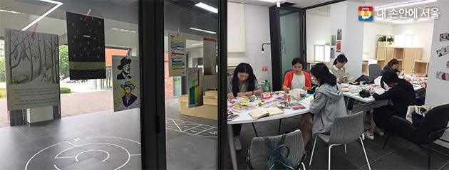 스타트업 지원사업을 통해 개설된 '디자인 스터디' 수업에 참가한 시민들과 작품들