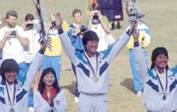 88서울올림픽 양궁여자개인메달 수여식, 금메달리스트 김수녕 선수와 우리나라 양궁 국가대표 선수들