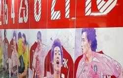서울월드컵경기장 스타디움 투어에서 본 선수대기실. 2002 한일월드컵에서 활약한 선수들로 채워진 벽