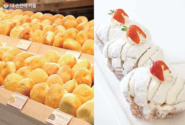 다양한 종류의 파파도나스 도넛(좌), 갓 구워낸 요거트 팡도르(우)