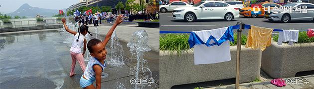 외국인 아이들도 물놀이가 즐겁다(좌), 물에 젖은 옷은 뜨거운 햇볕에 금세 마른다(우)