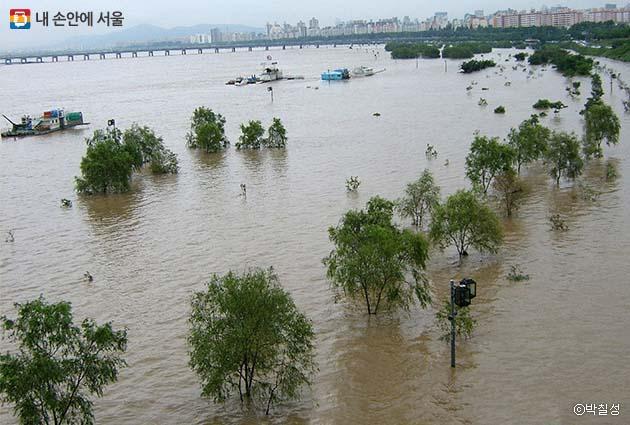폭우로 인해 물에 잠긴 한강공원