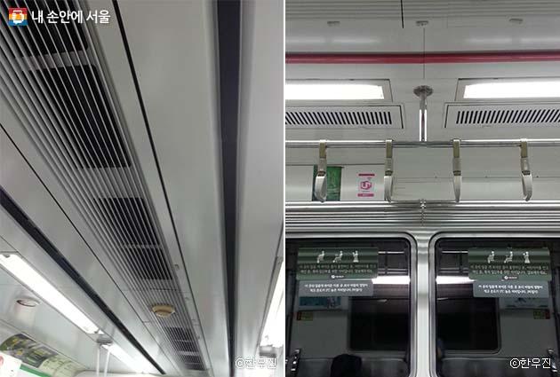 전동차 천장의 냉기가 나오는 부분인 라인 플로 팬(좌), 약냉방석 천장에는 라인 플로 팬이 없다(우)