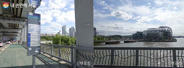 '반포한강공원·세빛섬' 버스 정류장(좌), 정류장에서 보이는 새빛섬(우)