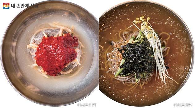 맛산골면옥 춘천막국수(좌) 봉평막국수(우)