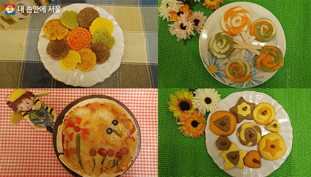 전통문양 오색쿠키, 알록달록 롤리팝 절편, 뱅글뱅글 팽이 과자, 피카소 또띠아 피자 (왼쪽 상단부터 시계방향)