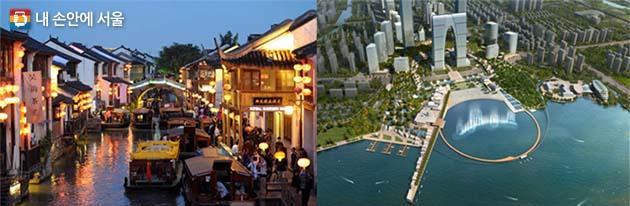 2014년 수상도시 중국 수저우, 역사보존지구(좌) 신규 CBD(우)