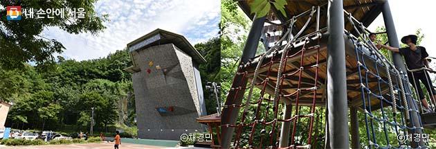 응봉산 인공암벽장(좌), 아이들의 도전심을 키워주는 챌린지 타워(우)