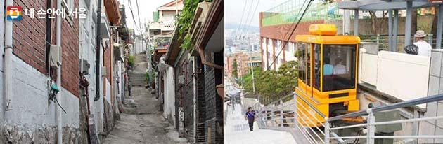 좁고 가파른 골목길(좌), 대중교통 접근이 어려운 지역에는 모노레일(우) 도입을 검토한다.
